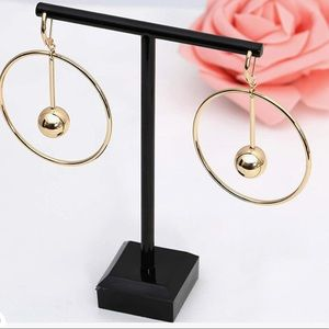 Dangle Hoop Earrings, 14k Gold/Silver Plated